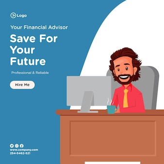 컴퓨터에서 일하는 재정 고문과 함께 미래의 배너 디자인을 위해 저장하십시오.
