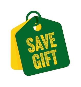 Сохраните бирку продажи подарков или ценник с маркетинговой информацией. специальные скидки коммерции предлагают шоппинг продвижение векторные иллюстрации, изолированные на белом фоне