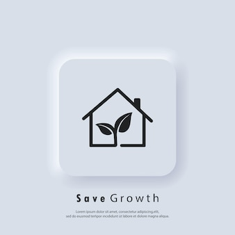 Save growth. ecology. environment concept. vector. ui icon. neumorphic ui ux white user interface web button. neumorphism