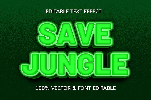 Save jungle color green editable text effect