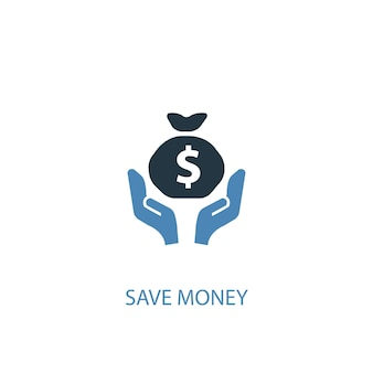 Save money concept 2 colored icon. simple blue element illustration. save money concept symbol design. can be used for web and mobile ui/ux