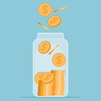 お金の概念を保存します。瓶にドル硬貨を保存します。お金の瓶。フラットスタイルのイラスト