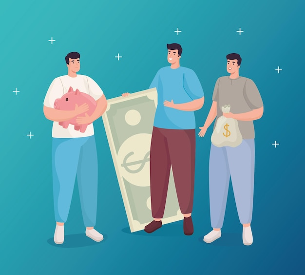 Save money of men holding piggy bill and bag