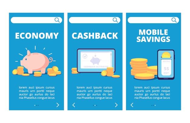 お金を節約するモバイルアプリのページ。銀行と貯蓄のベクターバナー