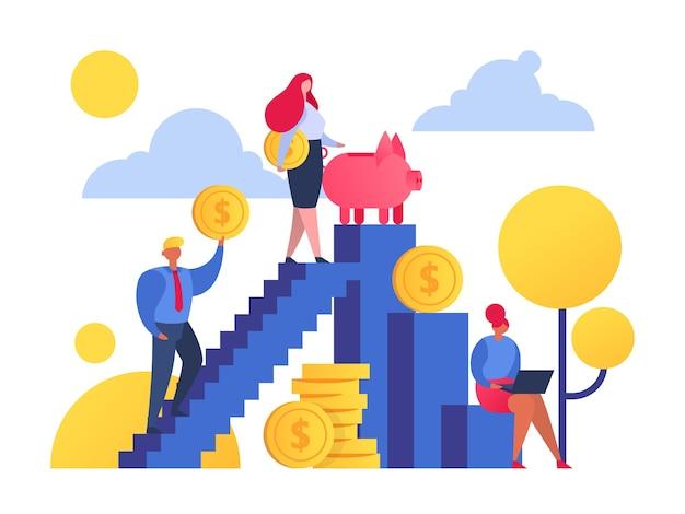 人々が富と経済の概念への階段を上るお金を節約します。ゴールデンコイン、貯金箱。お金を節約します。現金預金、予算計画。人々は月収を投資します。