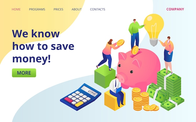 Save money service landing page . golden coins, dollars currency and piggy bank. save money investments company web site. cash deposit. invest income, online fund.