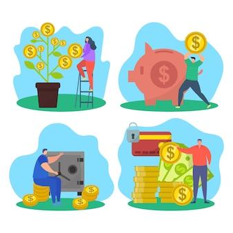 お金を節約するセットの概念、ベクトル図。貯金箱のあるビジネス金融経済、女性キャラクターは金融ツリーから利益コインを取得します。