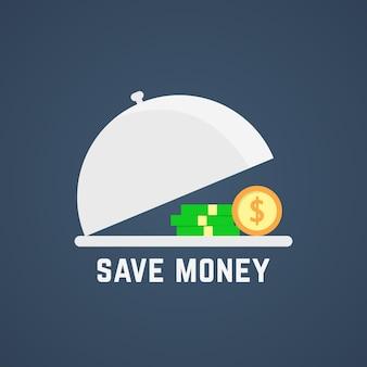 오픈 디쉬로 비용을 절약하세요. 승리, 재산, 주식, 트레이, 보물, 대출, 부자, 경제, 배당금의 개념이 증가합니다. 어두운 배경에 플랫 스타일 트렌드 현대 로고 디자인 벡터 일러스트 레이 션