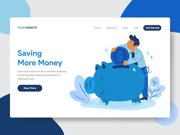 Save money with piggy bank illustration for web pages
