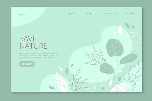 Save nature landing page hand drawn