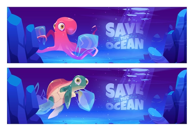 Save ocean cartoon banners with underwater animals and trash