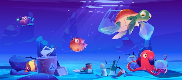 Save ocean illustration with underwater animals and trash