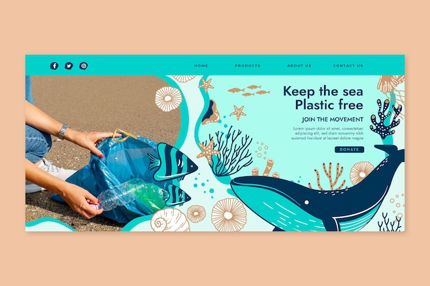 Save the ocean landing page template