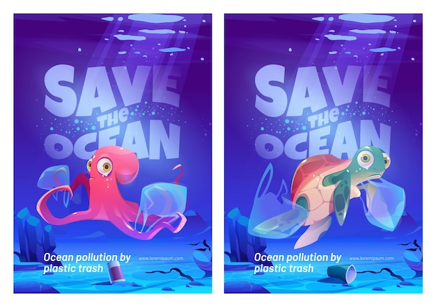 Save the ocean posters set