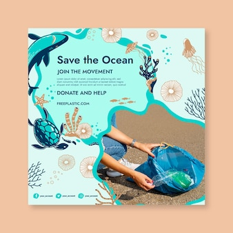 Save the ocean square flyer template