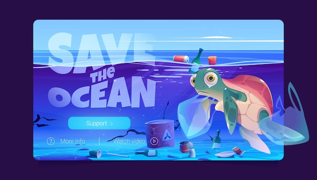 Salva il sito web dell'oceano con i sacchetti di plastica delle tartarughe e i rifiuti nella pagina di destinazione del vettore dell'acqua dell'inquinamento marino...