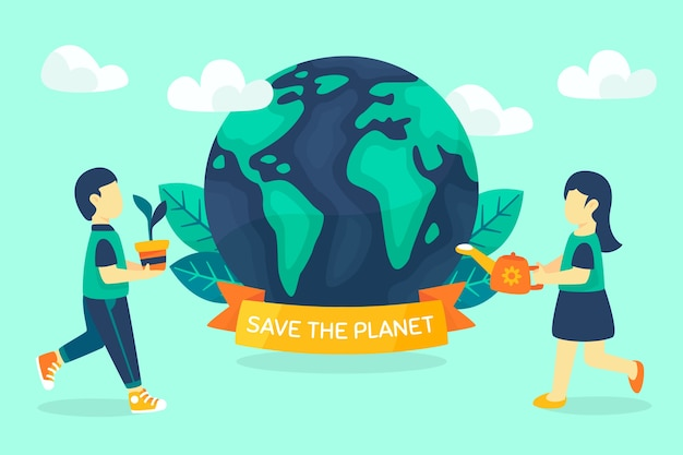Save the planet concept earth and ribbon