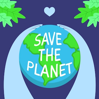Save the planet concept and hugging the earth