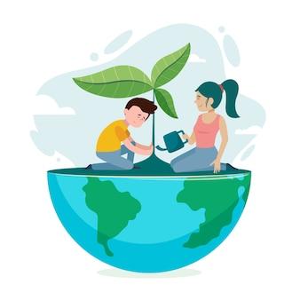 Salvare l'illustrazione del concetto di pianeta con uomo e donna