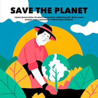 Save the planet concept man planting the earth