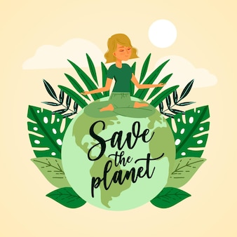 Save the planet concept wit woman doing yoga on earth