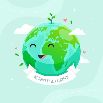 Save the planet concept with cute smiling earth