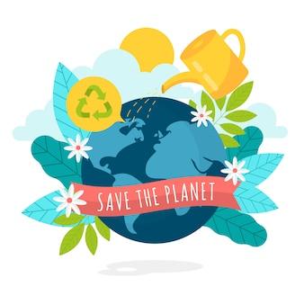 Salvare il concetto di pianeta con la terra e le foglie