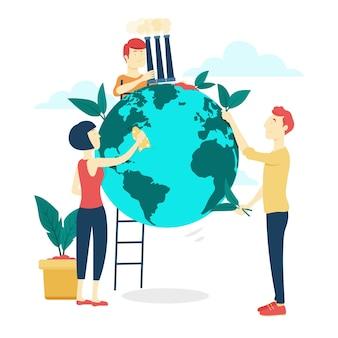 Salvare il concetto di pianeta con persone che puliscono la terra