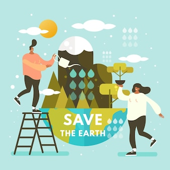 Save the planet concept with people watering the earth