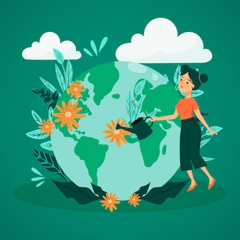 Save the planet concept with woman watering earth