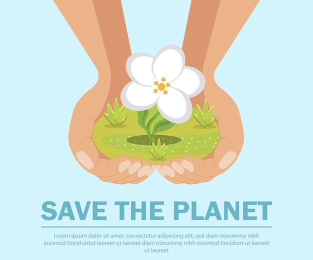 Сохранить планету, экология плоский баннер шаблон