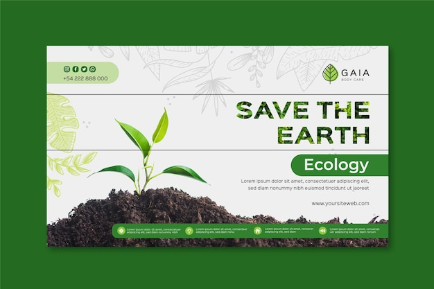 Save the planet environment banner template