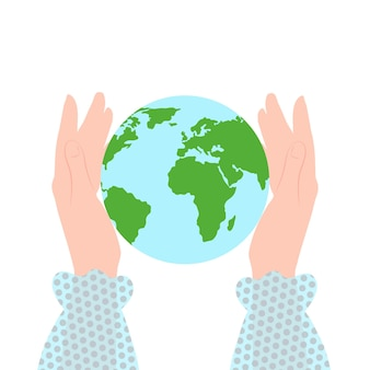Save the planet globe in female hands save the earth earth day concept