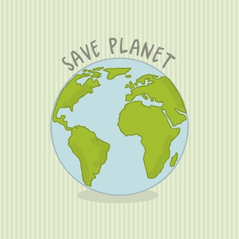 Save planet over green background vector illustration