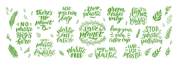 Save the planet hand drawn lettering set with leaves. plastic free quote. earth day. motivational eco quotes for environment concept. organic design template. typography isolated vector illustration.