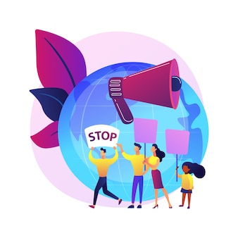 惑星のアイデアを保存します。生態学的抗議者のグループ。環境デモンストレーション、エコロジー保護、エコ抗議。抗議するプラカードを持っている人。