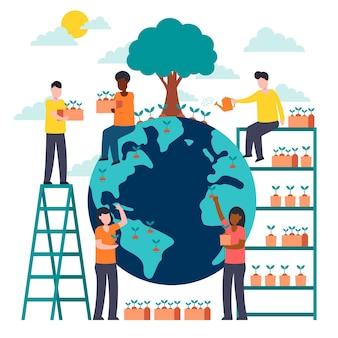 Salvare il pianeta illustrato design