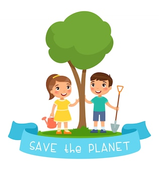 Save the planet  illustration.  boy and girl with watering can and shovel for planting seedling