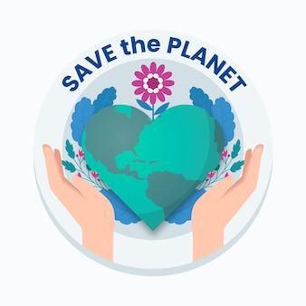 Salva il tema dell'illustrazione del pianeta