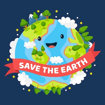 Save the planet smiley green earth