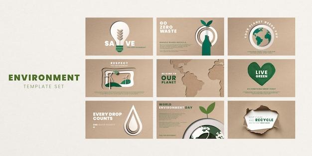 Salva il vettore dei modelli del pianeta per il set di campagne per la giornata mondiale dell'ambiente