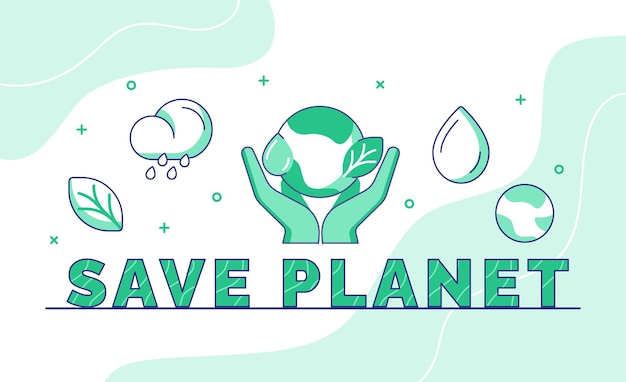 Save planet typography calligraphy word art with outline style