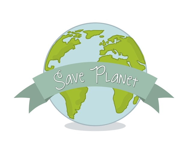 Save planet over white background vector illustration