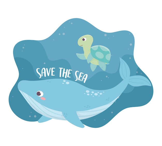 Save the sea whale and turtle environment ecology cartoon design