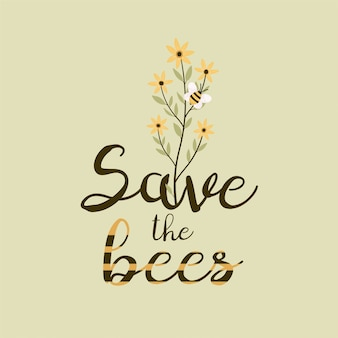 ミツバチのデザインを保存します。花束。