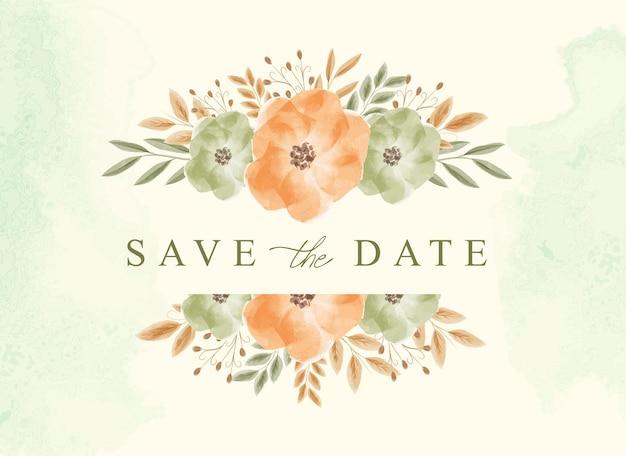 Сохраните дату фона с красивым букетом цветочной акварели