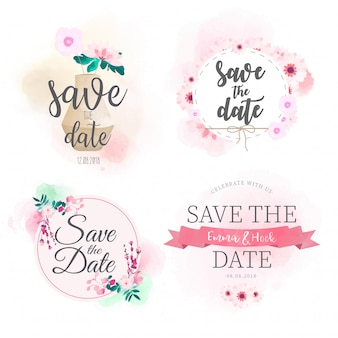 Save the date badge watercolor collection
