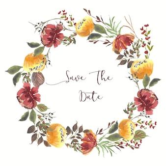 日付を保存する美しい花の花輪の水彩画