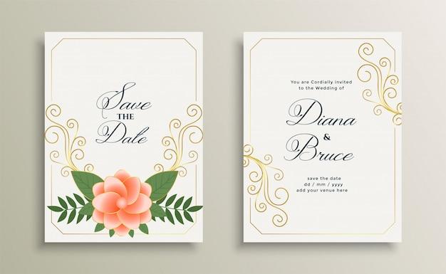 날짜 아름다운 결혼식 초대 카드 디자인을 저장