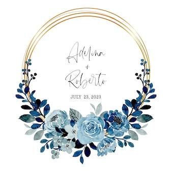 水彩で日付の青い花の花輪を保存します
